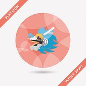 foto of dragon head  - Chinese New Year Flat Icon With Long Shadow - JPG