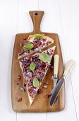 Tarte Flambee With Onion, Basil And Bacon