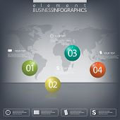 Modern design infographic 3d glossy ball elements template on dark background