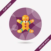 stock photo of gingerbread man  - Gingerbread Man Flat Icon With Long Shadow - JPG