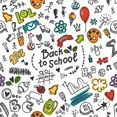 Vector seamless pattern with many school supplies.