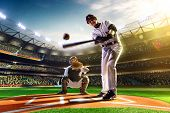 stock photo of arena  - Professional baseball players on the grand arena - JPG