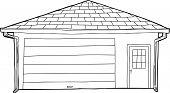 Outlined Single Garage With Door