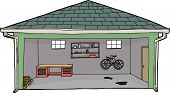 stock photo of workbench  - Isolated cartoon garage with bike and workbench - JPG