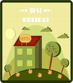 Funny cartoon of hotel, retro style, text Best Holiday