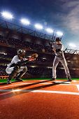 stock photo of baseball bat  - Professional baseball players on the grand arena - JPG