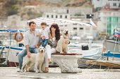stock photo of labradors  - Young happy family - JPG