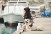 stock photo of labradors  - Young happy brunette - JPG