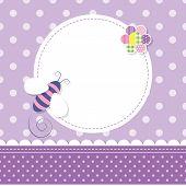 purple bee baby girl greeting card
