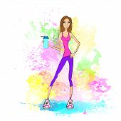 Sport woman hold shaker drink fitness trainer girl bodybuilder athletic muscle over colorful splash