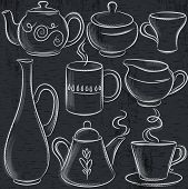 Set Of Different  Tableware On Blackboard, Vector