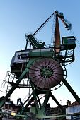 Dockside crane in Inner Harbour of Karlsruhe Germany