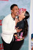 LOS ANGELES - FEB 18:  Brandon T. Jackson, Denise Xavier at the