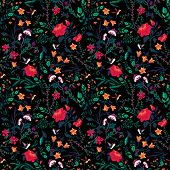 Vector Seamless Floral Pattern With Roses And Birds