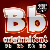 Vector set of original glossy white alphabet with gold border. Letter B