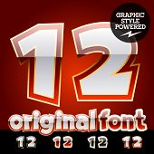 Vector set of original glossy white alphabet with gold border. Numbers 1 2