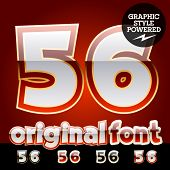 Vector set of original glossy white alphabet with gold border. Numbers 5 6