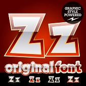 Vector set of original glossy white alphabet with gold border. Letter Z
