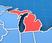 foto of usa map  - 3d render of USA map with Michigan state highlighted in red - JPG