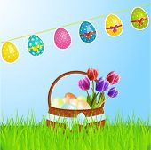 Easter Basket With Eggs Tulips And Bunting