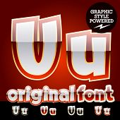 Vector set of original glossy white alphabet with gold border. Letter U