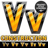 Vector set of striped orange and yellow alphabet in black border. Warning of danger style. Letter V