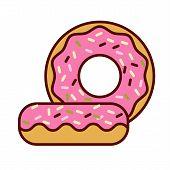 Glazed ring doughnut, detailed vector