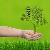 Concept conceptual abstract art design word cloud tagcloud tree on green blur background and grass