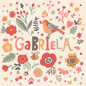Bright card with beautiful name Gabriela in poppy flowers, bees and butterflies. Awesome female name design in bright colors. Tremendous vector background for fabulous designs
