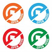 Open here stickers