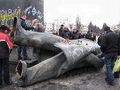 Thrown Big Bronze Monument To Lenin In Chernihiv In February 22, 2014