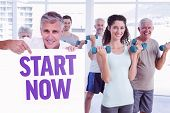 Casual man showing a poster against start now