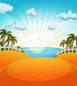 Cartoon Summer Beach Landscape