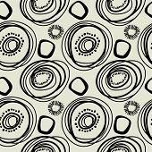 art black graphic geometric seamless pattern, square background with circle ornament in art deco style