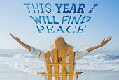 Woman relaxing in deck chair by the sea against this year i will find peace