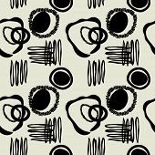 art black graphic geometric seamless pattern, square background with sketched circle ornament in art deco style