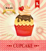 Постер, плакат: Colorful isolated cupcake with red chrry and cream