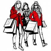 Three young fashionable women shopping - vector illustration