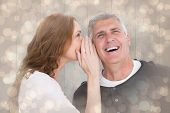 Woman telling secret to her partner against light glowing dots design pattern