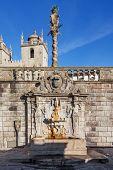 Rua Escura Fountain located near the Porto Cathedral and the pillory. 17th century architecture. Porto, Portugal. Unesco World Heritage Site