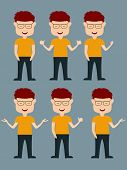 Character of a happy boy standing in different position on  blue background.