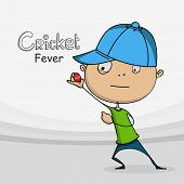 Funny cartoon holding red ball for Cricket sports concept.