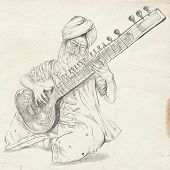 Tanpura Player. Freehand Sketch. Full Sized, Orignal.