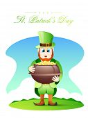 Leprechaun in glossy dress holding earthenware full of gold coins on blue background for Happy St. Patrick's Day celebration.