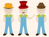 Character of boy wearing hat in different position with sad, laughing and smiling mood on beige color.