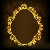 Stylish floral design decorated frame on brown background.