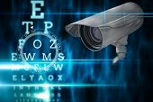 CCTV camera against blue and black reading test
