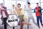 The word breath and cheerful fitness class and instructor doing pilates exercise against hexagon