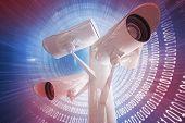 CCTV camera against glowing futuristic binary code spiral