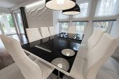 Modern Black And White Dinning Table